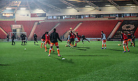 Blackpool during the pre-match warm-up <br /> <br /> Photographer Rachel Holborn/CameraSport<br /> <br /> The EFL Sky Bet League One - Doncaster Rovers v Blackpool - Tuesday 27th November 2018 - Keepmoat Stadium - Doncaster<br /> <br /> World Copyright &copy; 2018 CameraSport. All rights reserved. 43 Linden Ave. Countesthorpe. Leicester. England. LE8 5PG - Tel: +44 (0) 116 277 4147 - admin@camerasport.com - www.camerasport.com