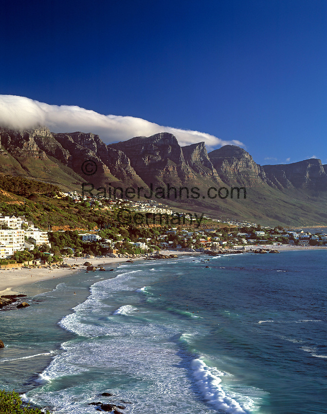 """South Africa, Cape Town, Clifton Beach at Bantry Bayand """"12 Apostle"""" Mountains"""