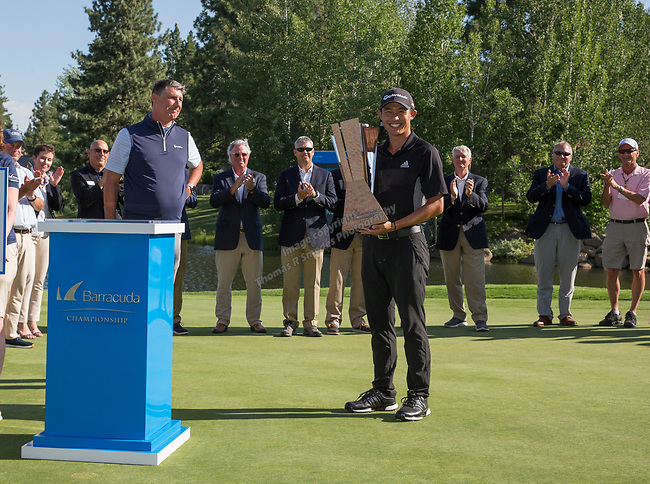Collin Morikawa with the trophy after winning the Barracuda Championship PGA golf tournament at Montrêux Golf and Country Club in Reno, Nevada on Sunday, July 28, 2019.