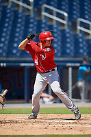 Washington Nationals KJ Harrison (4) at bat during an Instructional League game against the Miami Marlins on September 26, 2019 at FITTEAM Ballpark of The Palm Beaches in Palm Beach, Florida.  (Mike Janes/Four Seam Images)