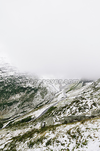 Switzerland, Western Europe, Uri, Susten region nr. Wassen. Sustenpass. First snow on the eastern ascent from Wassen towards the top of the Susten mountain pass.