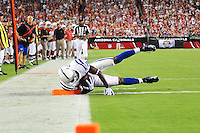Sept. 27, 2009; Glendale, AZ, USA; Indianapolis Colts wide receiver Reggie Wayne scores a touchdown in the second half against the Arizona Cardinals at University of Phoenix Stadium. Mandatory Credit: Mark J. Rebilas-