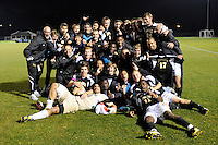 UMBC Retrievers players pose for a team photo after the game. UMBC Retrievers defeated Princeton Tigers 2-1 during the first round of the 2010 NCAA Division 1 Men's Soccer Championship at Roberts Stadium in Princeton, NJ, on November 18, 2010.