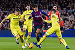 Philippe Coutinho of FC Barcelona (C) fights for the ball with Santiago Caseres (L) and Alvaro Gonzalez of Villarreal (R) during the La Liga 2018-19 match between FC Barcelona and Villarreal at Camp Nou on 02 December 2018 in Barcelona, Spain. Photo by Vicens Gimenez / Power Sport Images