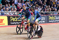 Picture by Allan McKenzie/SWpix.com - 06/01/2018 - Track Cycling - Revolution Champion Series 2017 - Round 3 - National Cycling Centre, Manchester, England - Dani Roe & Kirsten Wilde of Team Rowe and King celebrate coming first in qualifying during the Elite Championship's Madison Time Trial.