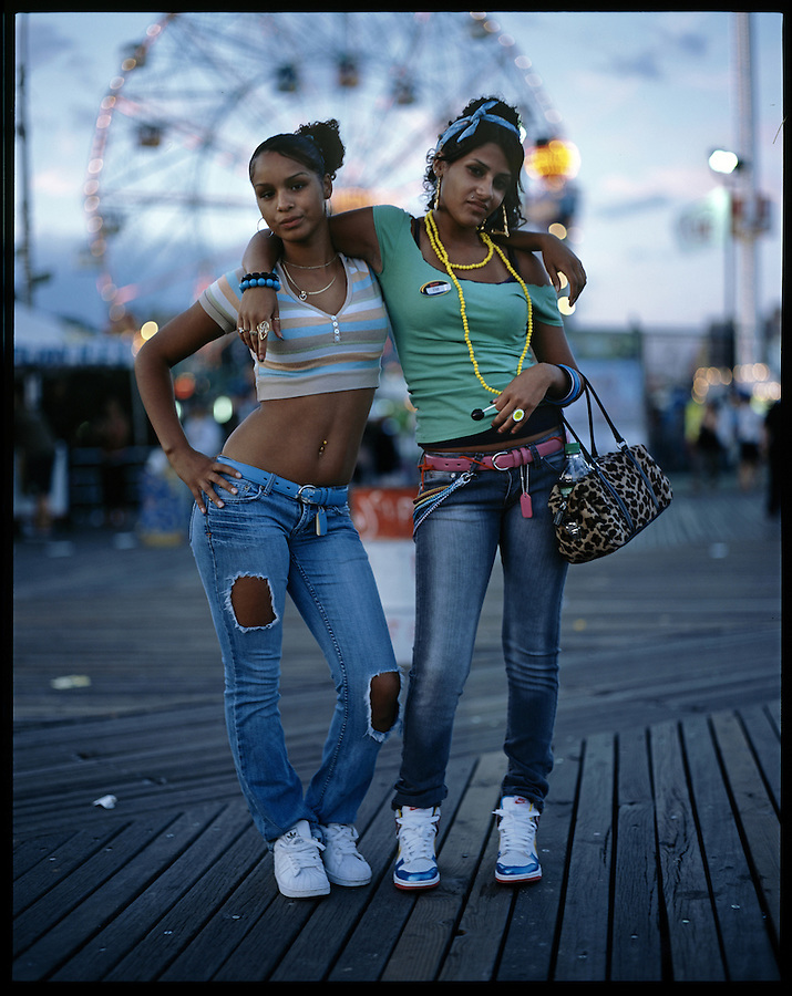 Tiffinnie Robles, 15, and Cristina Rivera, 16. Coney Island, Brooklyn. Coney Island teen-agers. Summer 2008.