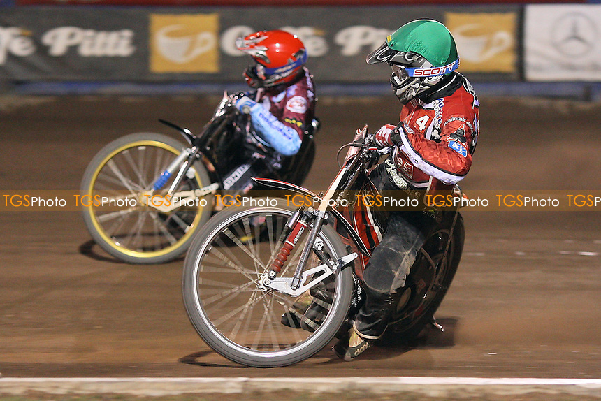 Heat 14: Morten Risager (green) and Jonas Davidsson (red) - Lakeside Hammers vs Belle Vue Aces - Sky Sports Elite League Speedway at Arena Essex Raceway, Purfleet, Essex - 14/08/09 - MANDATORY CREDIT: Gavin Ellis/TGSPHOTO - Self billing applies where appropriate - Tel: 0845 094 6026