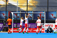 England players celebrate scoring the opening goal during the Hockey World League Semi-Final Pool A match between England and Malaysia at the Olympic Park, London, England on 17 June 2017. Photo by Steve McCarthy.
