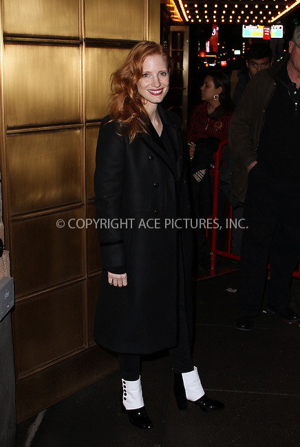 WWW.ACEPIXS.COM....January 30, 2013...New York City.........Jessica Chastain at The Walter Kerr Theater following a performance of 'The Heiress' on January 30, 2013 in New York City ......By Line: Zelig Shaul/ACE Pictures......ACE Pictures, Inc...tel: 646 769 0430..Email: info@acepixs.com..www.acepixs.com