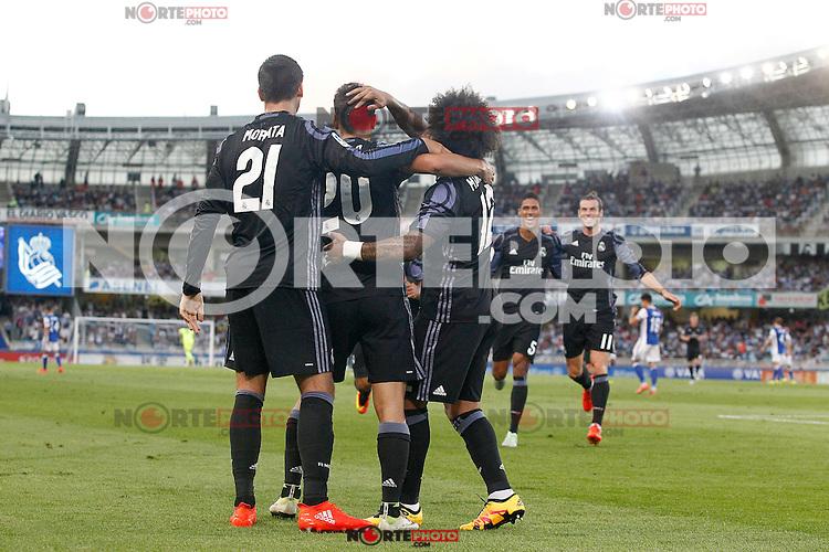 Real Madrid's Alvaro Morata, Marco Asensio, Marcelo Vieira, Raphael Varane and Garet Bale celebrate goal during La Liga match. August 21,2016. (ALTERPHOTOS/Acero) /NORTEPHOTO