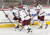 Melissa Bizzari (BC - 4), Alex Carpenter (BC - 5), Emily Pfalzer (BC - 14), Blake Bolden (BC - 10) - The Boston College Eagles defeated the visiting Cornell University Big Red 4-3 (OT) on Sunday, January 11, 2012, at Kelley Rink in Conte Forum in Chestnut Hill, Massachusetts.