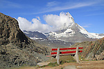 Park bench and the Matterhorn from the Gornergrat train, Zermatt, Switzerland.