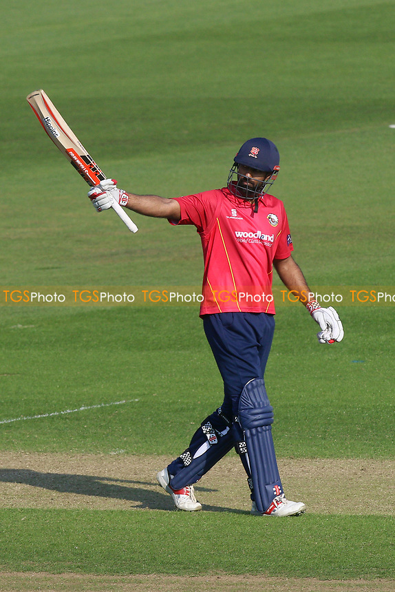Varun Chopra of Essex celebrates scoring a century, 100 runs during Glamorgan vs Essex Eagles, Royal London One-Day Cup Cricket at the SSE SWALEC Stadium on 7th May 2017