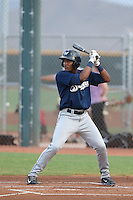 Juan Ortiz #20 of the AZL Brewers bats against the AZL Reds at the Cincinnati Reds Spring Training Complex on July 5, 2014 in Goodyear Arizona. AZL Reds defeated the AZL Brewers, 7-2. (Larry Goren/Four Seam Images)