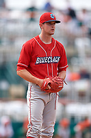 Lakewood BlueClaws relief pitcher Zach Warren (33) gets ready to deliver a pitch during a game against the Greensboro Grasshoppers on June 10, 2018 at First National Bank Field in Greensboro, North Carolina.  Lakewood defeated Greensboro 2-0.  (Mike Janes/Four Seam Images)