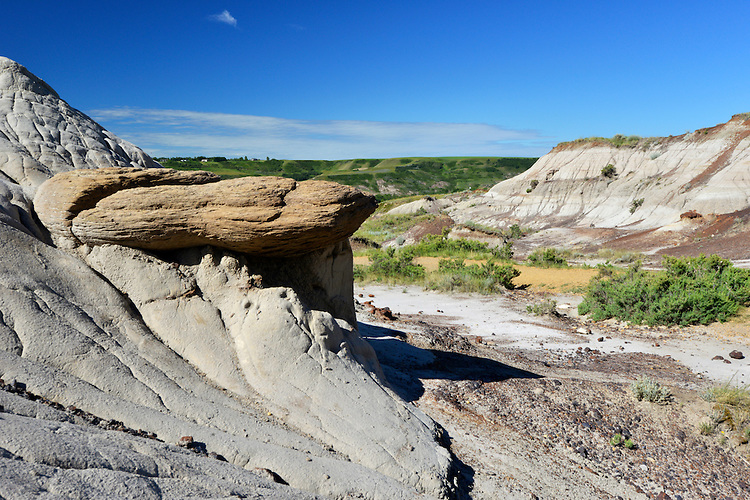 Geological formation known as 'hoodoos'; the result of erosion. Badlands, Dinosaur Provincial Park, Alberta, Canada.
