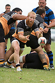 Caleb Brown clears the ball from a defensive ruck. Counties Manukau Premier Counties Power Club Rugby Round 2, Game of the Week, between Te Kauwhata and Onewhero, played at Te Kauwhata on Saturday March 17th 2018. <br /> Photo by Richard Spranger.<br /> <br /> Onewhero won the game 43 - 10 after leading 21 - 10 at halftime.<br /> Te Kauwhata EnviroWaste  10 - Lani Latu try,  Caleb Brown 1 conversion, Caleb Brown 1 penalty.<br /> Onewhero 43 - Jackson Orr 2, Ilaisa Koaneti 2, Vaughan Holdt, Zac Wootten, Rhain Strang tries, Vaughan Holdt 4 conversions.
