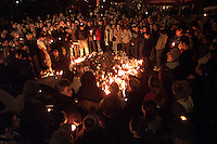 SANTA BARBARA, Calif.  Grieving the dead, Isla Vista residents and friends of four people  killed, gather for a Monday night candlelight ceremony in memory  of those killed:  Nicholas Shaw Bourdakis and Christopher Edward Divis, both 20 and UCSB students; Ruth Dasha Golda Levy, 20, a Santa Barbara City College student; and Elie Israel, 27, of San Francisco., all died when a car allegedly driven by David Edward Attias, 18, crashed into the group Friday night.    Levy's older brother, Albert Arthur Levy, 27, remained in critical condition Monday after undergoing multiple surgeries.,
