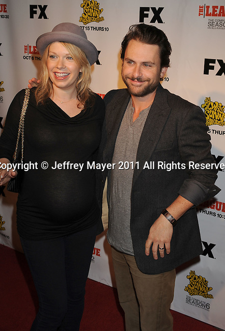"HOLLYWOOD, CA - SEPTEMBER 13: Mary Elizabeth Ellis and Charlie Day attend the FX Premiere for ""It's Always Sunny In Philadelphia"" And ""The League"" at ArcLight Cinemas Cinerama Dome on September 13, 2011 in Hollywood, California."