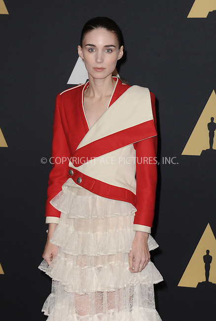 WWW.ACEPIXS.COM<br /> <br /> November 14 2015, LA<br /> <br /> Rooney Mara arriving at the Academy of Motion Picture Arts and Sciences' 7th Annual Governors Awards at The Ray Dolby Ballroom at the Hollywood &amp; Highland Center on November 14, 2015 in Hollywood, California<br /> <br /> <br /> By Line: Peter West/ACE Pictures<br /> <br /> <br /> ACE Pictures, Inc.<br /> tel: 646 769 0430<br /> Email: info@acepixs.com<br /> www.acepixs.com