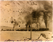 Three D&amp;RG locomotives pushing rotary snowplow #ON north of Crested Butte.<br /> D&amp;RG  Crested Butte, CO  1/1918