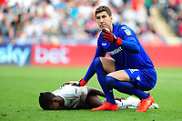 Costel Pantilimon of Nottingham Forest calls for medical attention for Joel Asoro of Swansea City during the Sky Bet Championship match between Swansea City and Nottingham Forest at the Liberty Stadium, in Swansea, Wales, UK. Saturday 15 September 2018