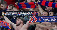 CSKA Moscow supporters during the UEFA Europa League QF 1st leg match between Arsenal and CSKA Moscow  at the Emirates Stadium, London, England on 5 April 2018. Photo by Andrew Aleksiejczuk / PRiME Media Images.