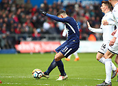 17th March 2018, Liberty Stadium, Swansea, Wales; FA Cup football, quarter-final, Swansea City versus Tottenham Hotspur; Erik Lamela of Tottenham Hotspur strikes the ball towards goal to score his sides 2nd goal of the 1st half making it 0-2