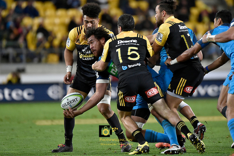 Blues' Steven Luatua in action during the Super Rugby - Hurricanes v Blues at Westpac Stadium, Wellington, New Zealand on Saturday 2 July 2016. <br /> Photo by Masanori Udagawa. <br /> www.photowellington.photoshelter.com.