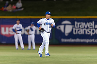 Omaha Storm Chasers relief pitcher Andres Machado (59) jogs onto the field during a Pacific Coast League game against the Memphis Redbirds on April 26, 2019 at Werner Park in Omaha, Nebraska. Memphis defeated Omaha 7-3. (Zachary Lucy/Four Seam Images)