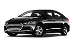 Stock pictures of low aggressive front three quarter view of a 2018 Hyundai Elantra ECO 4 Door Sedan