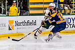 26 January 2019:  University of Vermont Catamount Forward Derek Lodermeier, a Junior from Brooklyn Center, MN, is checked by Merrimack College Warrior Forward Michael Babcock, a Senior from Northville, MI, during first period action at Gutterson Fieldhouse in Burlington, Vermont. The Catamounts defeated the Warriors 4-3 in overtime to take both games of their weekend America East conference series. Mandatory Credit: Ed Wolfstein Photo *** RAW (NEF) Image File Available ***