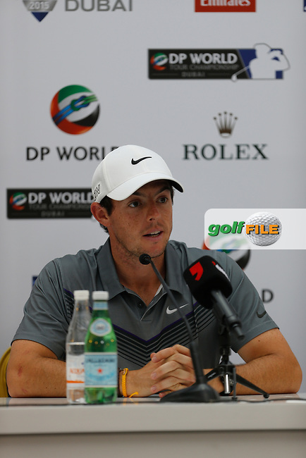 Rory McIlroy (NIR) during the Preview for the DP World Tour Championship at the Jumeirah Golf Estates in Dubai, UAE on Monday 16/11/15.<br /> Picture: Golffile | Thos Caffrey<br /> <br /> All photo usage must carry mandatory copyright credit (&copy; Golffile | Thos Caffrey)