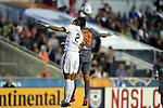 03 September 2016: Jacksonville's Tyler Ruthven (2) and Carolina's Omar Bravo (MEX) (99) challenge for a header. The Carolina RailHawks hosted the Jacksonville Armada at WakeMed Stadium in Cary, North Carolina in a 2016 North American Soccer League Fall Season game. Carolina won the match 1-0.