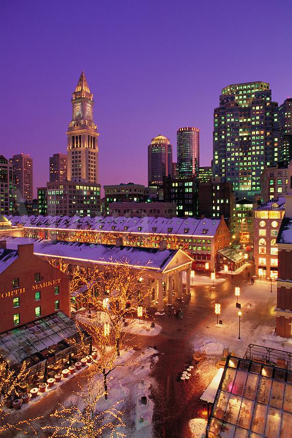Quincy Market night winter, Boston, MA