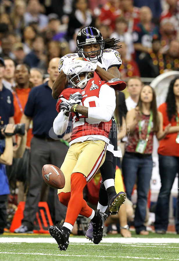 Feb 3, 2013; New Orleans, LA, USA; Baltimore Ravens wide receiver Torrey Smith (top) has a pass broken up by San Francisco 49ers cornerback Chris Culliver in Super Bowl XLVII at the Mercedes-Benz Superdome. Mandatory Credit: Mark J. Rebilas-