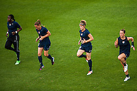 Sky Blue FC forward Danesha Adams (9), defender Christie Rampone (3), midfielder Sophie Schmidt (16), and midfielder Brittany Bock (10) during warmups prior to playing FC Kansas City. Sky Blue FC and FC Kansas City played to a 2-2 tie during a National Women's Soccer League (NWSL) match at Yurcak Field in Piscataway, NJ, on June 26, 2013.