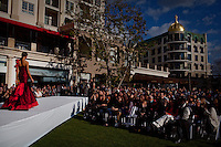 Glendale, California, February 18, 2011 - A wedding show at the upscale Americana at Brand mall. The Golden Key Hotel is surrounded on three sides by the Americana at Brand outdoor shopping mall. The Americana is looking to expand into the space where the hotel sits. The City Council is set to vote on Tuesday on the proposed expansion. City Council officials have said that if they can't cut a deal with the hotel owner, the city will likely use its eminent domain powers to seize the property.The Americana at Brand is owned by real estate developer Caruso Affiliated, which also owns The Grove at Farmers Market in Los Angeles. It is an open space shopping complex and living facility, with 75 retail shops, 19 restaurants,100 condominiums and 238 apartments and an animated fountain. .