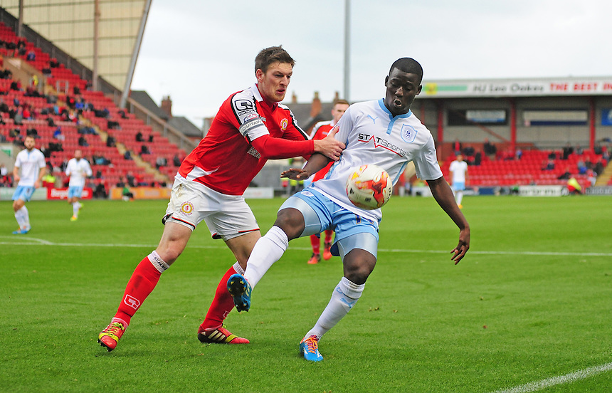 Coventry City's Mohamed Coulibaly shields the ball from Crewe Alexandra's Matt Tootle<br /> <br /> Photographer Chris Vaughan/CameraSport<br /> <br /> Football - The Football League Sky Bet League One - Crewe Alexandra v Coventry City - Saturday 11th October 2014 - Alexandra Stadium - Crewe<br /> <br /> &copy; CameraSport - 43 Linden Ave. Countesthorpe. Leicester. England. LE8 5PG - Tel: +44 (0) 116 277 4147 - admin@camerasport.com - www.camerasport.com