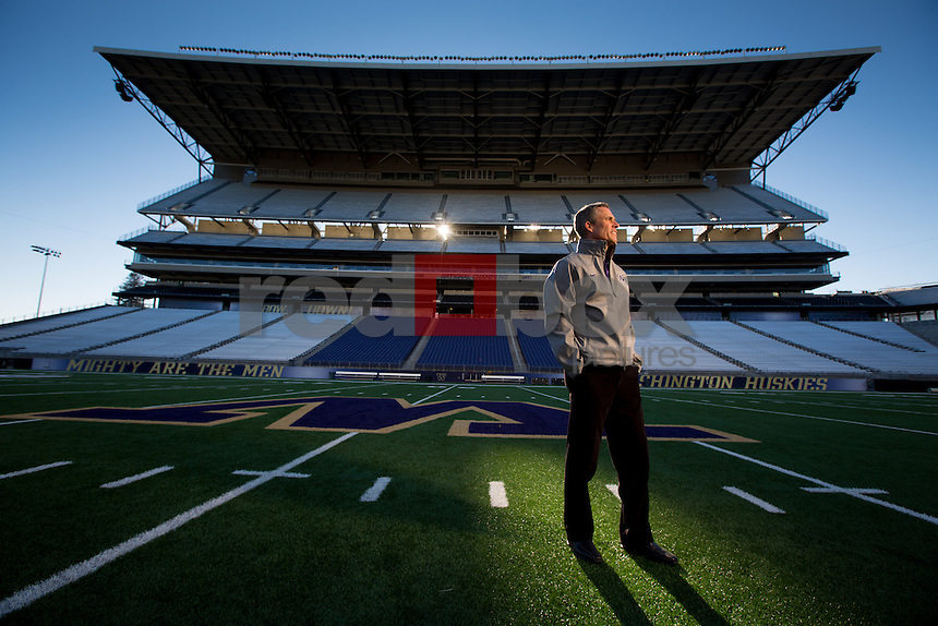 The new University of Washington head football coach Chris Petersen on December 7, 2013. (Photo by Scott Eklund/Red Box Pictures)
