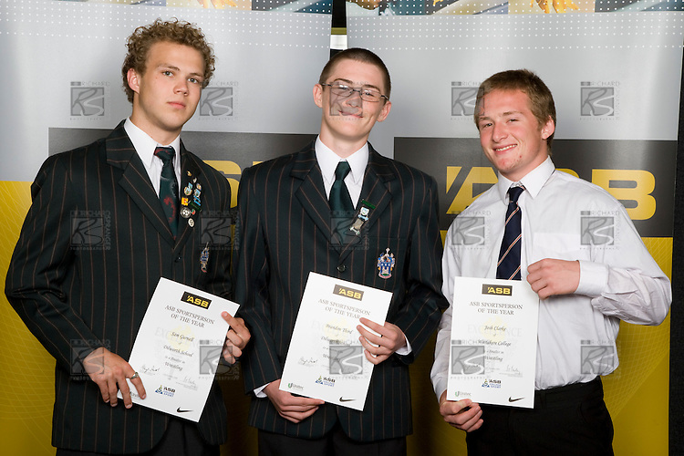 Boys Wrestling finalists Sam Gurnell, Brandon Third & Josh Clarke. ASB College Sport Young Sportperson of the Year Awards 2008 held at Eden Park, Auckland, on Thursday November 13th, 2008.