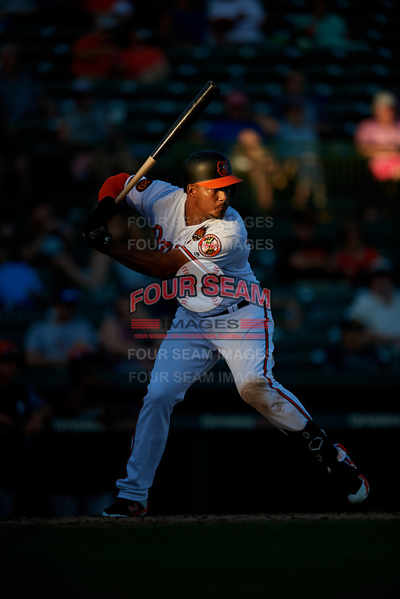 Baltimore Orioles designated hitter Anthony Santander (25) at bat during a Grapefruit League Spring Training game against the Detroit Tigers on March 3, 2019 at Ed Smith Stadium in Sarasota, Florida.  Baltimore defeated Detroit 7-5.  (Mike Janes/Four Seam Images)