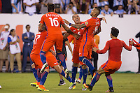 East Rutherford, NJ - June 26, 2016: Chile defeated Argentina 4-2 on penalty kicks in the final of the Copa America Centenario USA 2016 at MetLife Stadium.