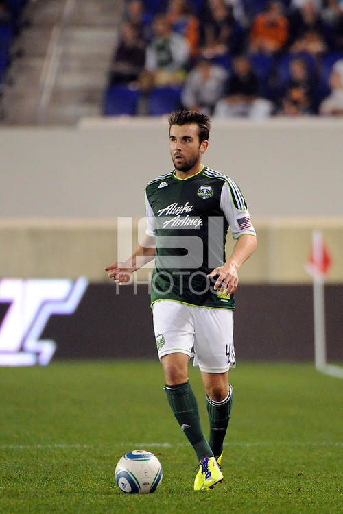 Mike Chabala (4) of the Portland Timbers. The New York Red Bulls defeated the Portland Timbers 2-0 during a Major League Soccer (MLS) match at Red Bull Arena in Harrison, NJ, on September 24, 2011.