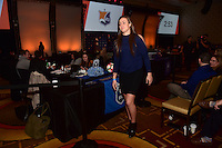 Los Angeles, CA - Thursday January 12, 2017: Kailen Sheridan during the 2017 NWSL College Draft at JW Marriott Hotel.