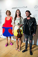 Spanish designer Agatha Ruiz de la Prada, violinist Elena Mikhailova and Dj Madison pose to the media at MBFWM16 in Madrid. September 16, Spain. 2016. (ALTERPHOTOS/BorjaB.Hojas) /NORTEPHOTO