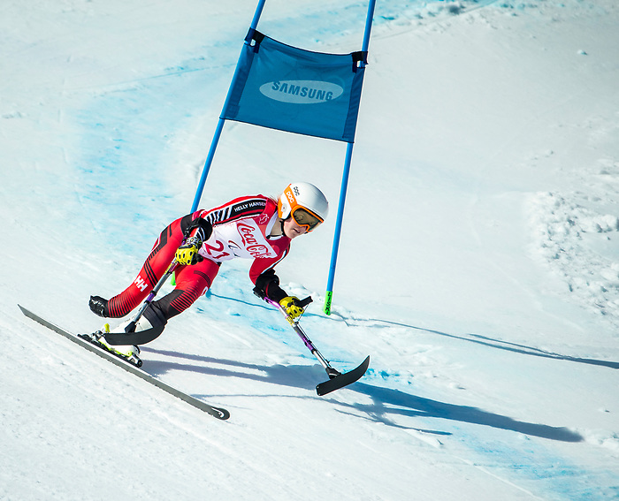 PyeongChang 13/3/2018 - Frederique Turgeon skis in the super-G portion of the super combined at the Jeongseon Alpine Centre during the 2018 Winter Paralympic Games in Pyeongchang, Korea. Photo: Dave Holland/Canadian Paralympic Committee