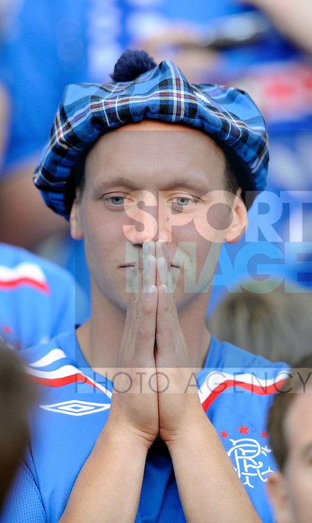 Rangers fan asks for help from a higher power during the Europa League Final match at The Etihad Stadium, Manchester. Picture date 14th May 2008. Picture credit should read: Simon Bellis/Sportimage