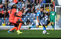 Blackburn Rovers' Adam Armstrong under pressure from Huddersfield Town's Trevoh Chalobah and Adama Diakhaby<br /> <br /> Photographer Kevin Barnes/CameraSport<br /> <br /> The EFL Sky Bet Championship - Blackburn Rovers v Huddersfield Town - Saturday 19th October 2019 - Ewood Park - Blackburn<br /> <br /> World Copyright © 2019 CameraSport. All rights reserved. 43 Linden Ave. Countesthorpe. Leicester. England. LE8 5PG - Tel: +44 (0) 116 277 4147 - admin@camerasport.com - www.camerasport.com