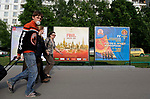 Citizens of Moscow walking in front of a Champions league signPreview pictures before the Champions League match at the Luzhniki Stadium, Moscow. Picture date 19th May 2008. Picture credit should read: Simon Bellis/Sportimage